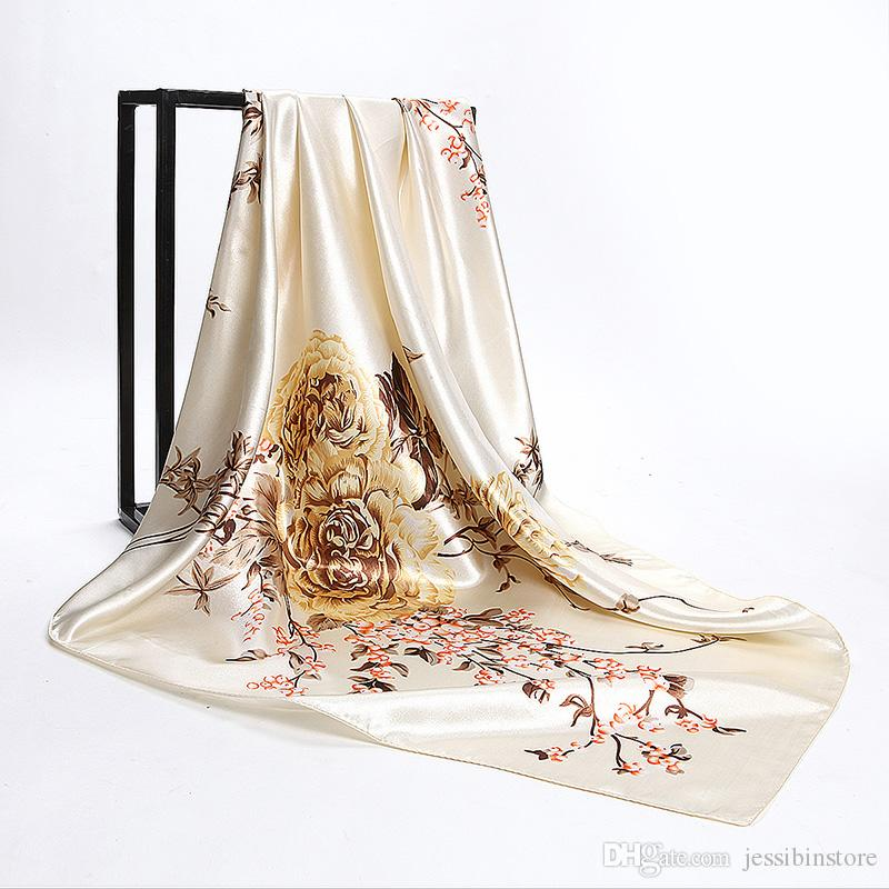 Navy Blue Chinese Roses Large Square Scarves New Female Elegant Large Silk Scarf Fashion Ladies Accessories 90*90cm