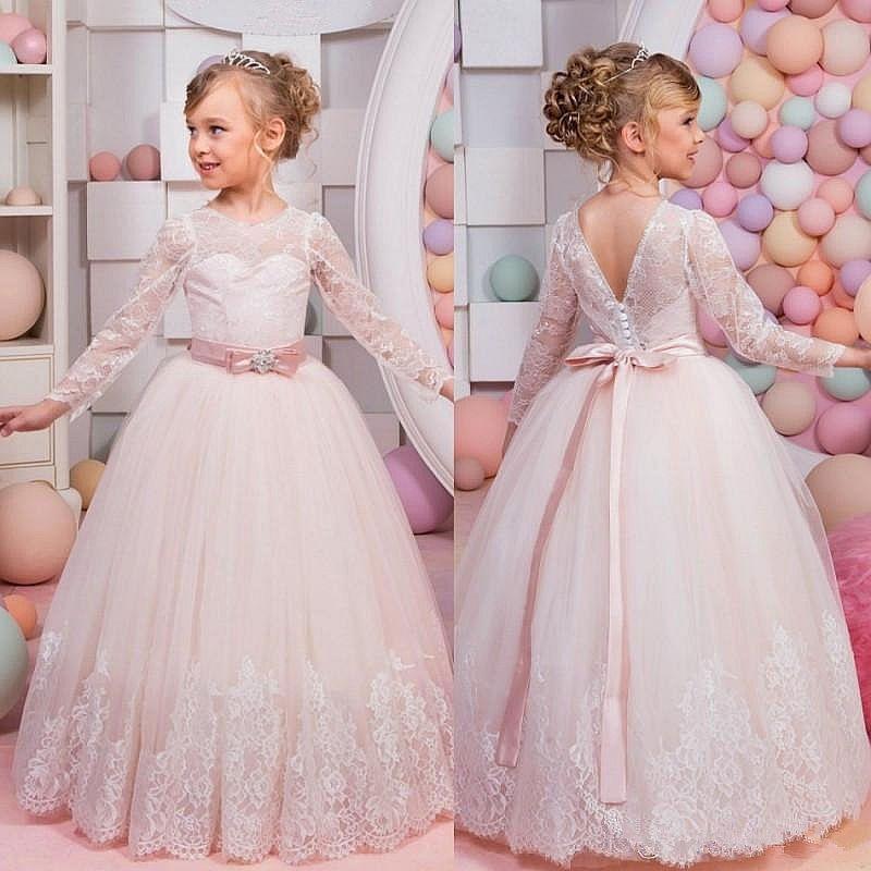 79b4367ddc692 Light Pink Long Sleeve Lace Formal Tulle Cute Dance Flower Girl Dresses  Ball Gown Floor Length Little Kids Party Birthday Dress Flowergirl Girls  Dresses For ...