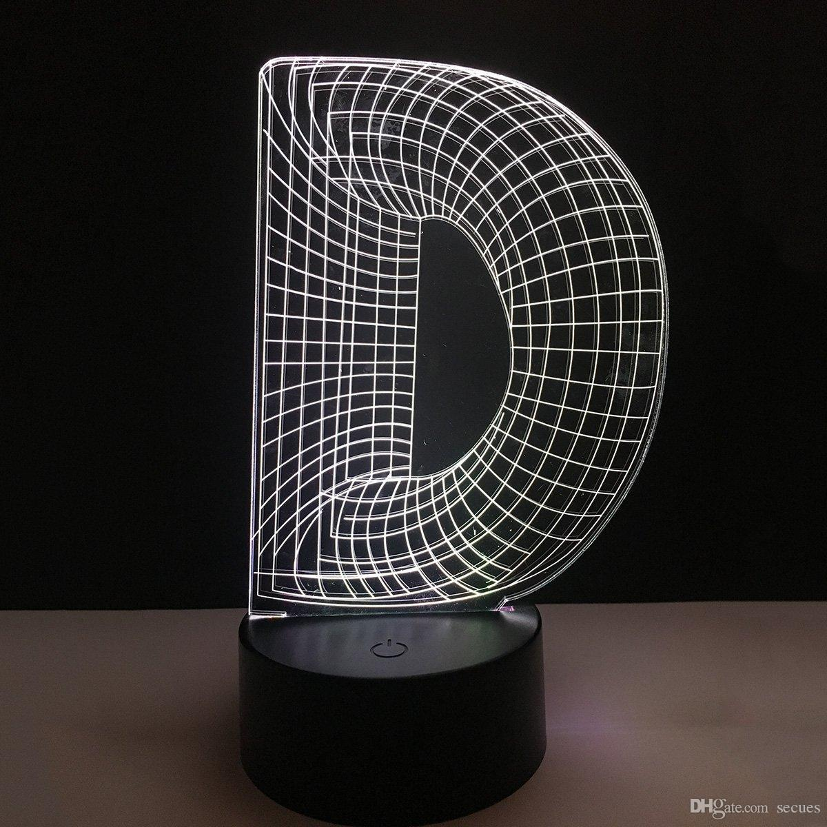D Letters Alphabet 3D Illusion Decoration Lamp Night Light DC 5V USB Powered 5th Battery Wholesale Dropshipping