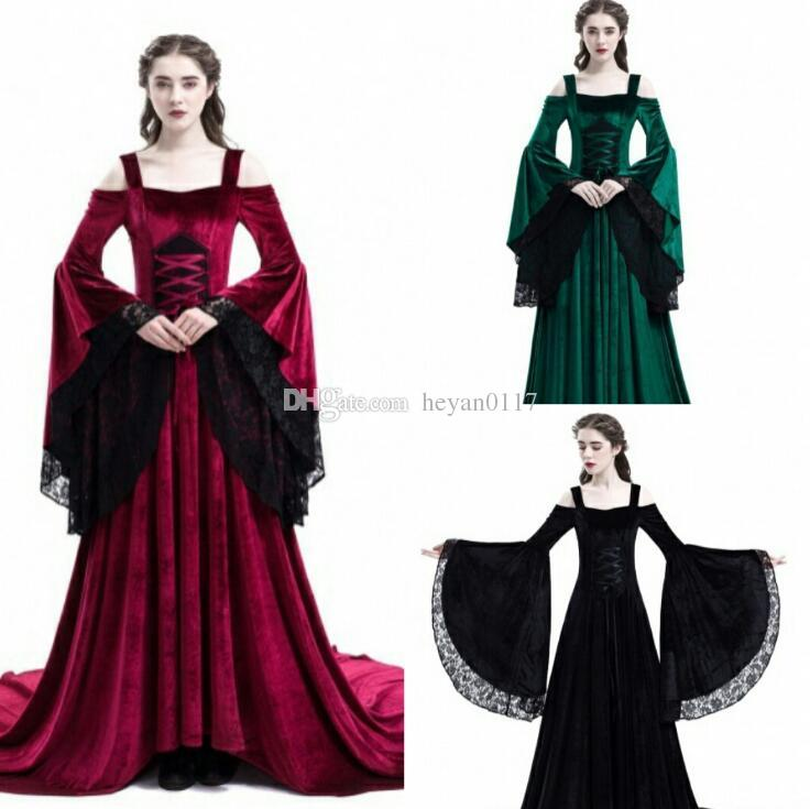 fd9d605c3f6 Hallowmas Women Sexy Off The Shoulder Medieval Dress Vintage Style Gothic  Dress Floor Length Cosplay Dresses Retro Long Renaissance Halloween Costumes  For ...