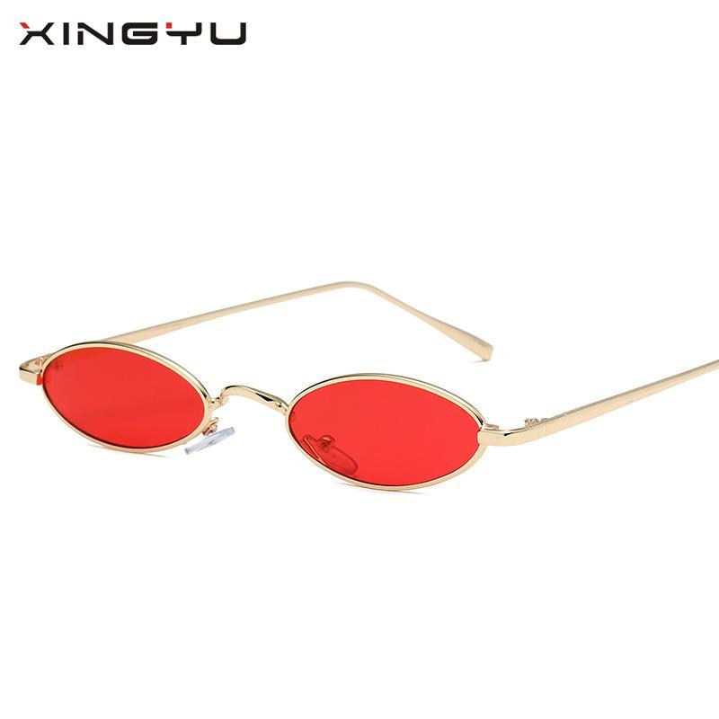 338e9c58f5372 Compre Xingyu2018 Novo Pequeno Oval Óculos De Sol Das Mulheres Dos Homens Retro  Óculos De Metal Transparente Rosa Amarelo Lente Feminino Óculos De Sol  Uv400 ...