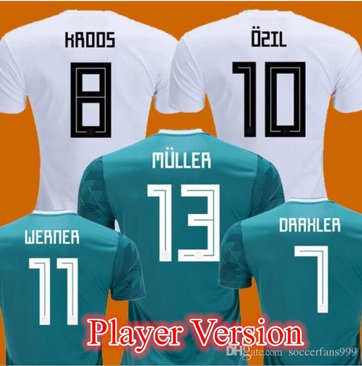 2019 Player Version 2018 GERMANY Soccer Jersey Home Away Green Muller  HUMMELS 18 19 OZIL KROOS Sane WERNER Football Uniform Shirts Top Thailand  From ... c390927cd