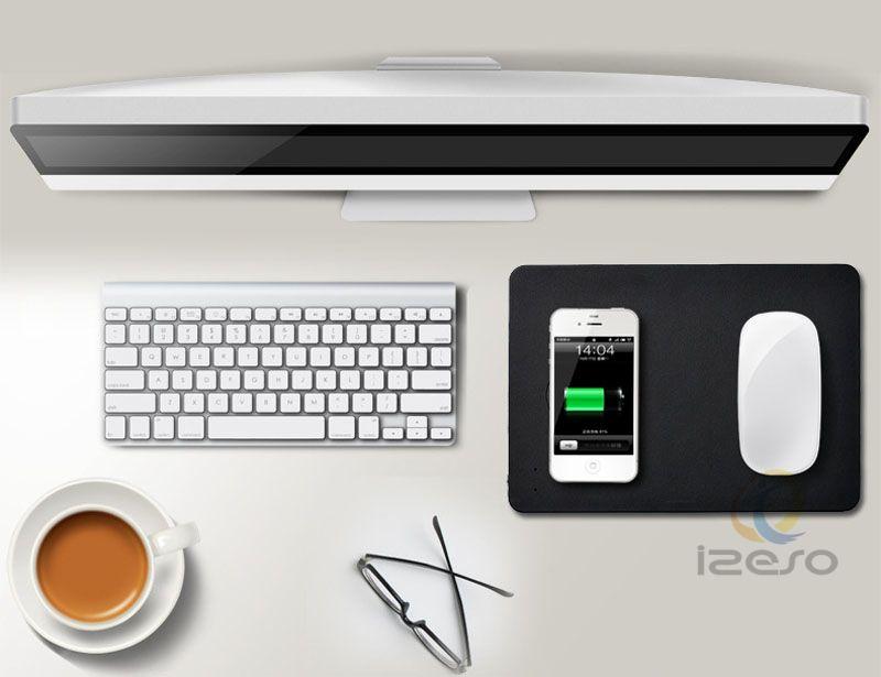 2 in 1 Qi Wireless Ladegerät Mouse Pads Multifunktions-PU-Leder-Maus-Matte für iPhone X Samsung S9 Note8 Alle Qi unterstützt Geräte