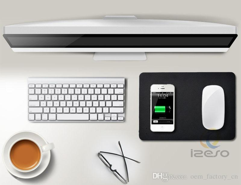 Qi Wireless Charger Mouse Pads Schnellladung Portable PU-Leder-Maus Lade-Mat Universal für iPhone Samsung Qi-fähigen Handys