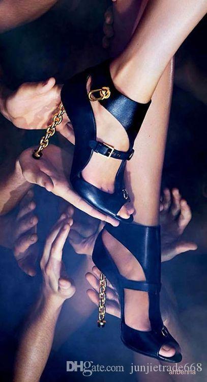 Новый список высокое качество резьбы пустой подиум Европа и Америка новая мода декоративные металлические цепи торговля Женские сандалии