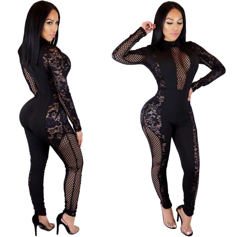 0250d1f2a9b 2019 MUXU Black Lace Sexy Transparent Long Sleeve Rompers Womens ...