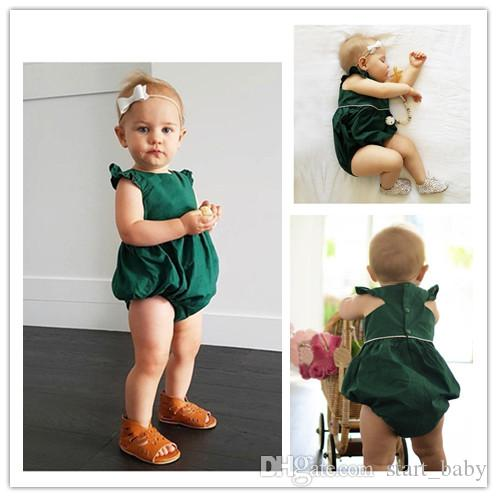 0823ddac1cb4 Newborn Infant Baby Girl Romper Ruffled Top Green Jumpsuit Outfits Sunsuit  Clothes 0-2T B11 Online with  10.2 Piece on Start baby s Store