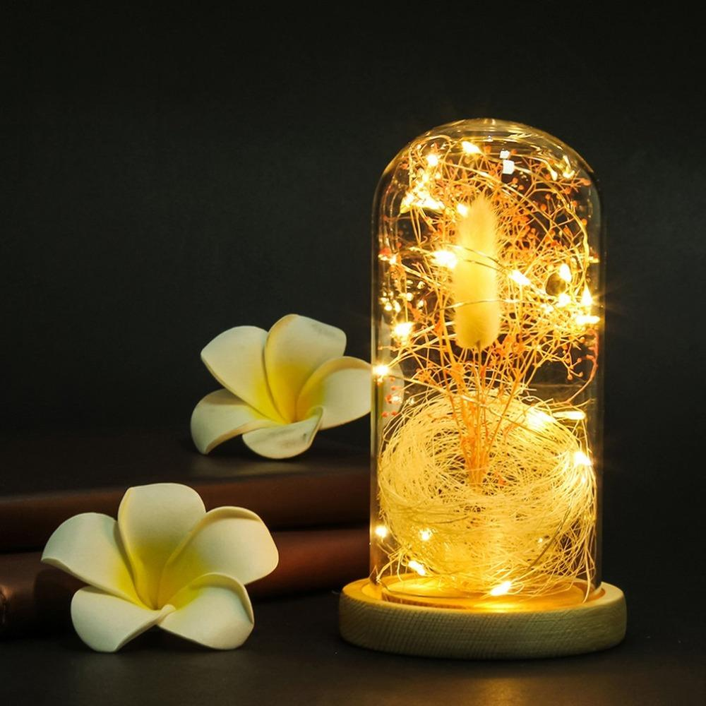 DHgate.com & Dropshipping Flower in a Glass LED Night Light Gypsophila Flower Vase with Wooden Base String Lighting Home Decor