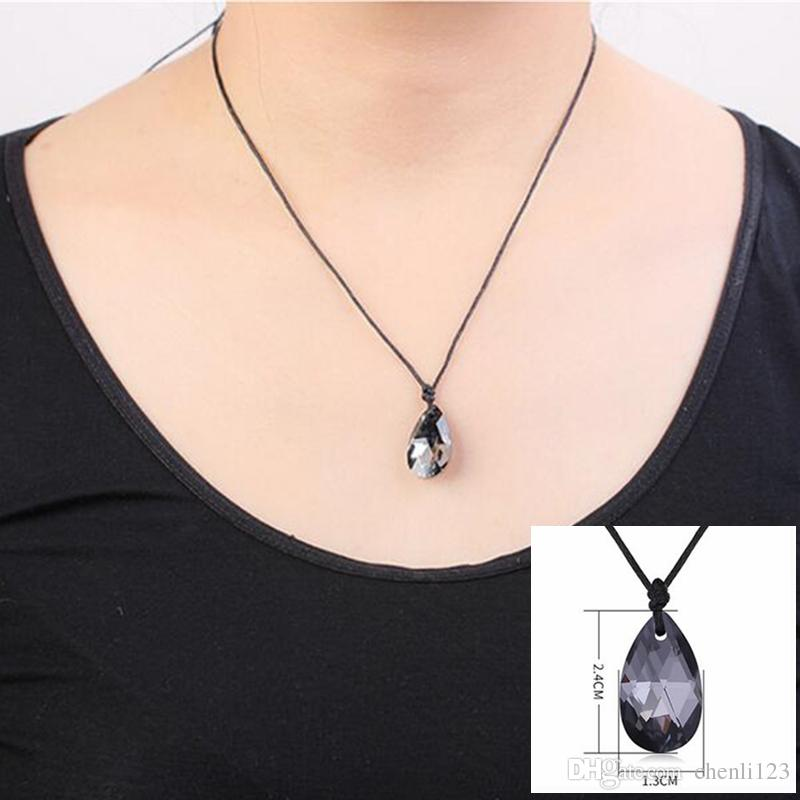 Black Rope Chain Crystal from Swarovski Elements Water Drop Pendant Necklaces For Women Fashion Jewelry Anniversary Gift .28249