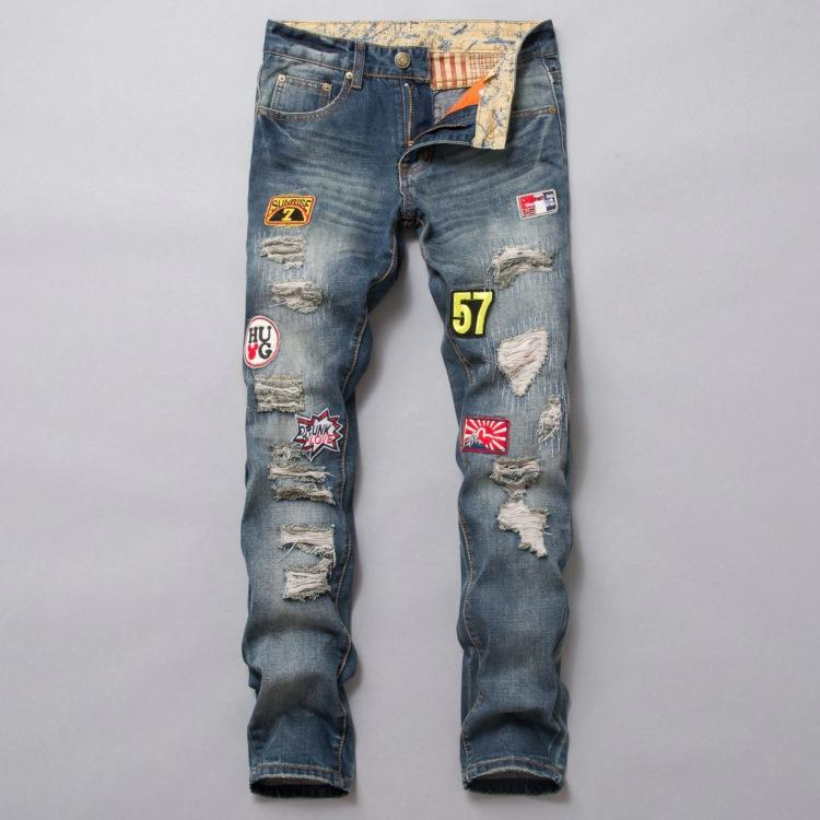 2018 new men jeans patches embroidery stretch tide hip pop zipper