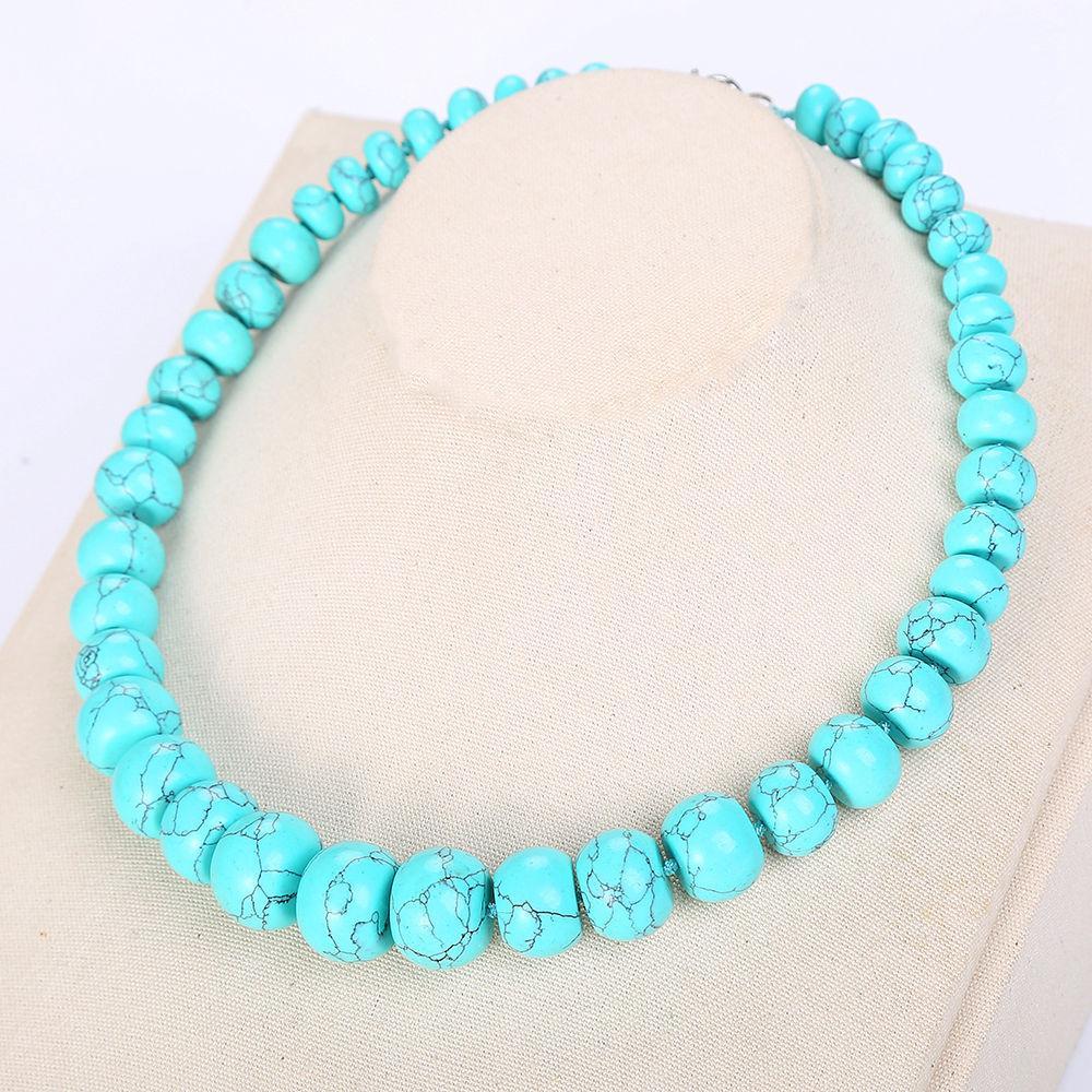 adf5762e0cff Compre Collar De Turquesa Natural Perlas Collares Colgantes Collares  Pendientes Colgantes Collar Largo Joyería De Las Mujeres Collares Cadena A   37.63 Del ...