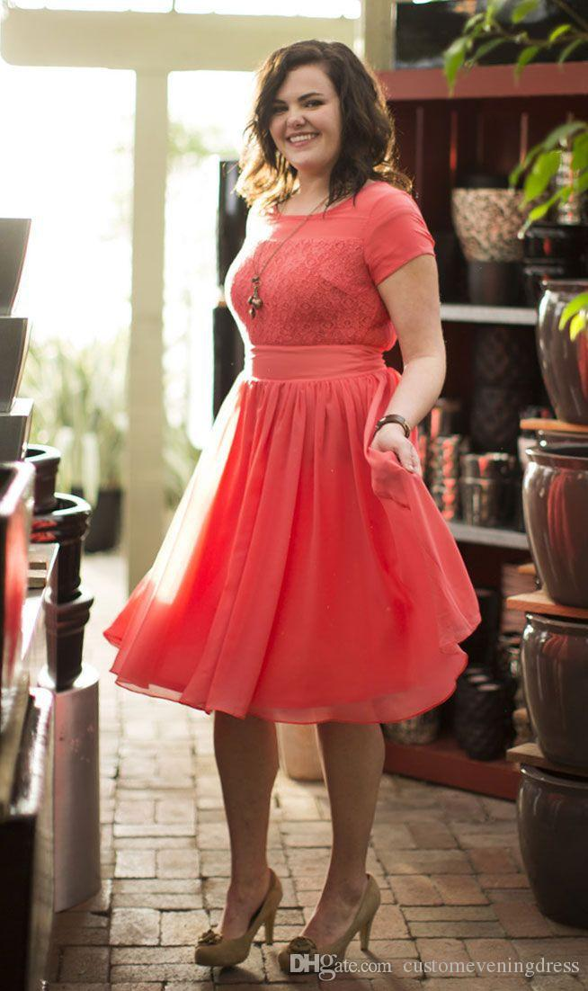 Plus Size Special Occasion Dresses Scoop Chiffon Lace Prom Gowns Short Sleeves Knee Length Party Dresses robe de cocktail