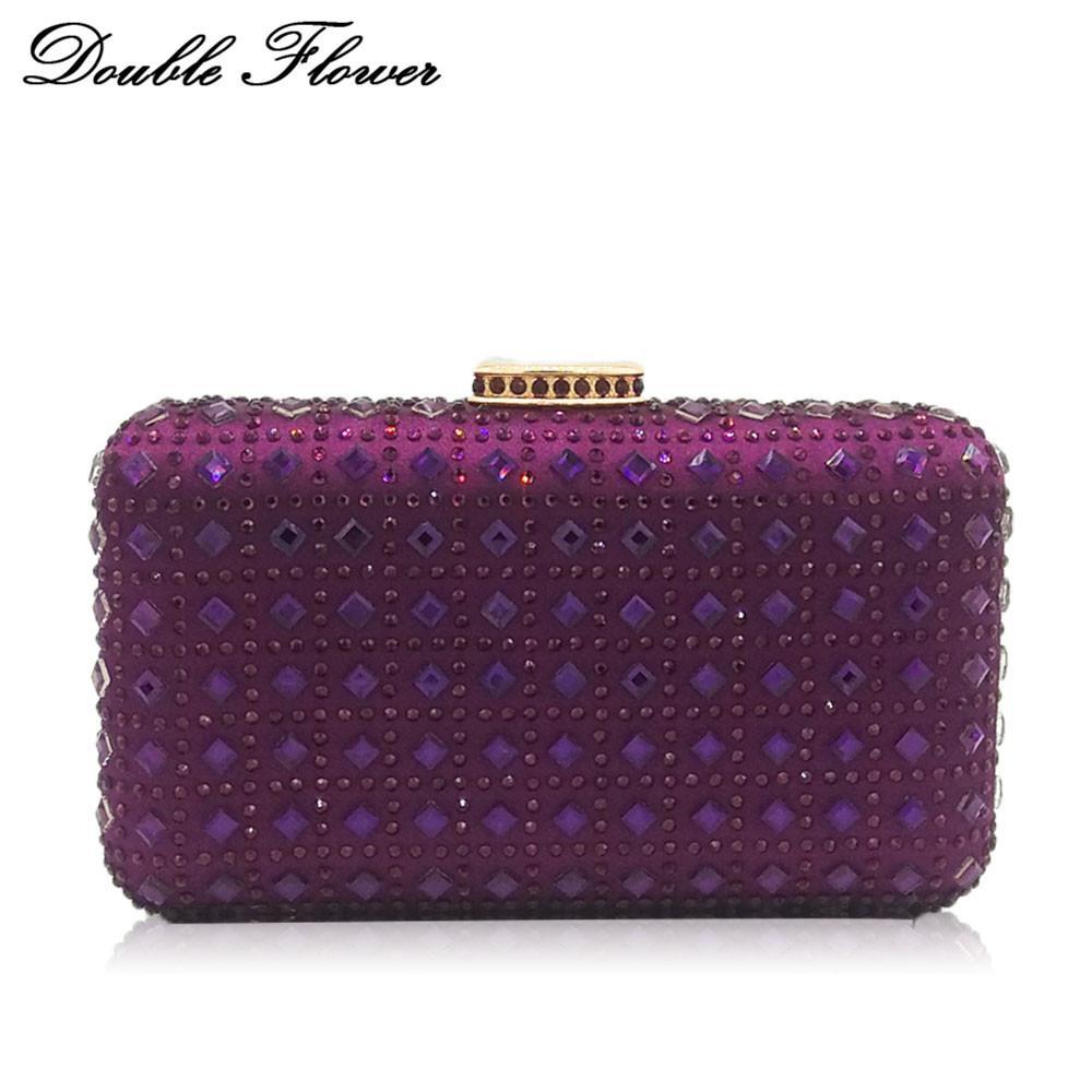 Double Flower Purple Diamond Striped Women Evening Clutch Bag Wedding Party  Dinner Bridal Crystal Purse Chain Shoulder Handbag Y18103004 Best Handbags  Straw ...