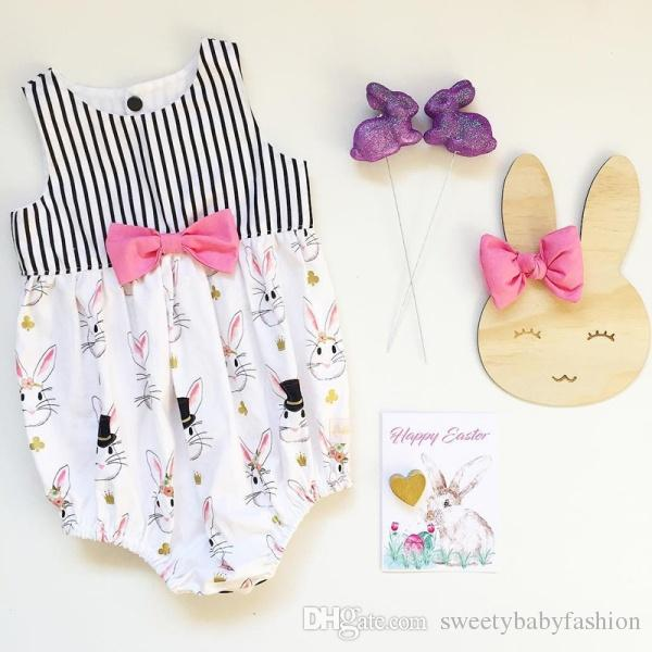 4a929c0ef 2019 Newborn Baby Girls Bunny Bowknot Romper Jumpsuit Easter Outfit  Princess Toddler Kids Summer Clothes Gift Ideas 0 24M KA737 From  Sweetybabyfashion, ...