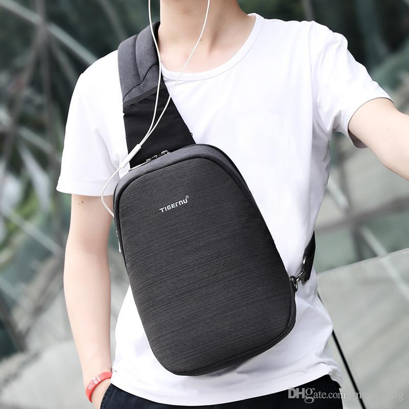 bf739f5116 Anti theft Crossbody Bag Casual Men Chest Bag Waterproof Sling ShoulderBag  Messenger Bag Fit 9.7