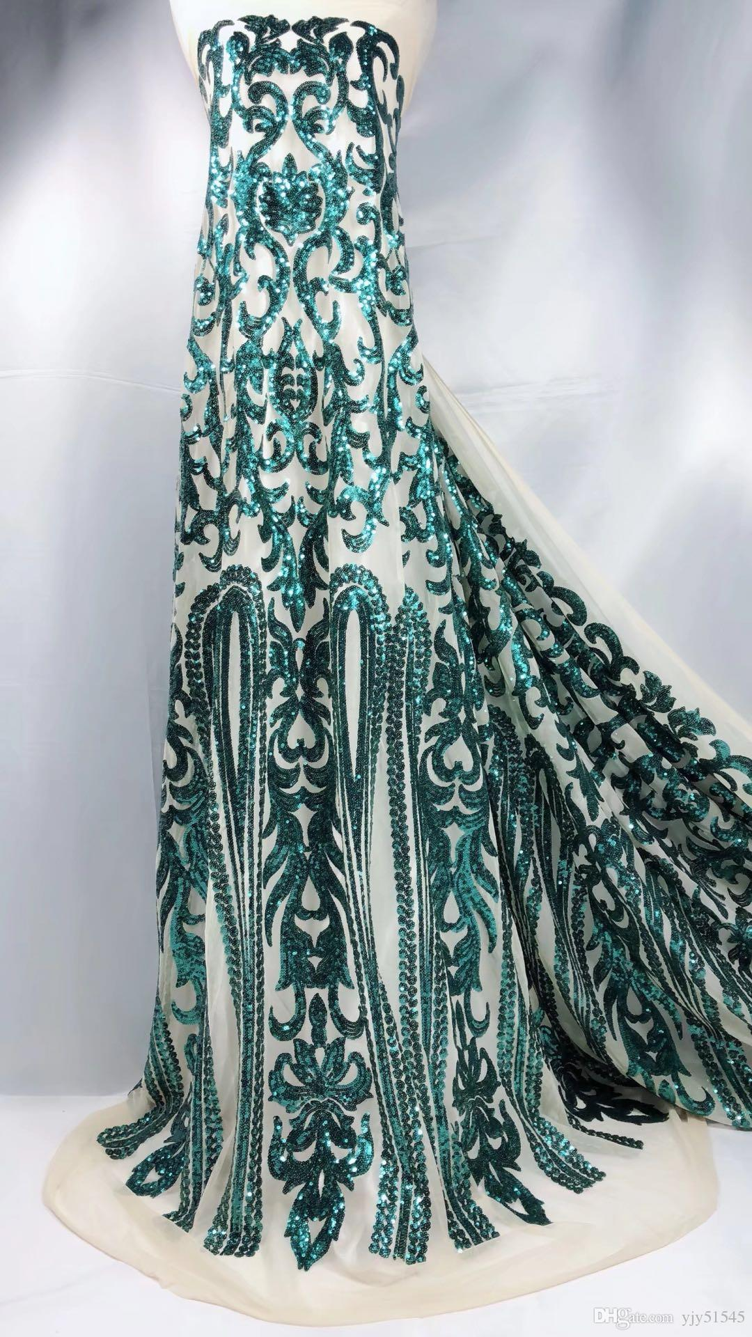 TNY1009 5yards/pc shining African French lace fabric sequins lace fabric with gorgeous embroidery for party dress