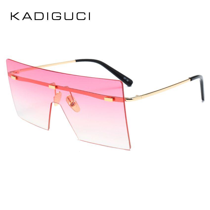 a05bcfaeb94 KADEGUCI Umanco Big Square Rimless Sunglasses Women Men Vintage Fashion  Metal Sun Glasses Female Oversized Shades Eyewear Male Goggles K0130 Online  ...