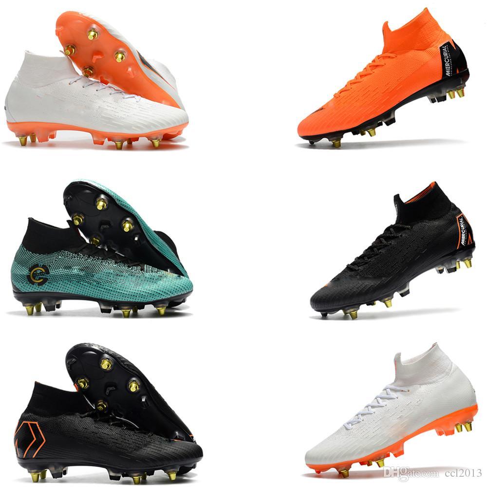2018 Los mejores zapatos de fútbol para hombre de color naranja original Mercurial Superfly VI Elite SG zapatos de fútbol de calidad superior zapatos