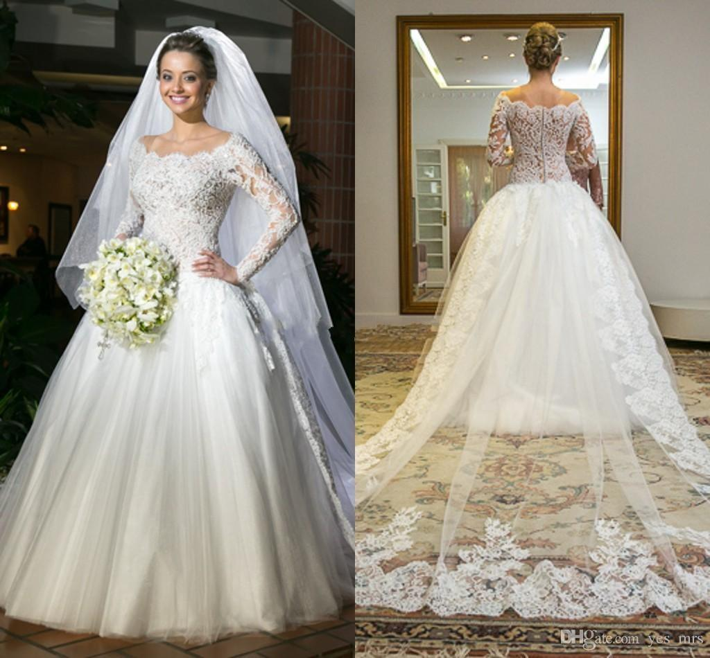 2018 Major Beading Ball Gown Wedding Dresses Off Shoulder Lace Appliques  Long Sleeves Puffy Tulle Sweep Train Plus Size Formal Bridal Gowns Chiffon  Wedding ... 739aae5a0484