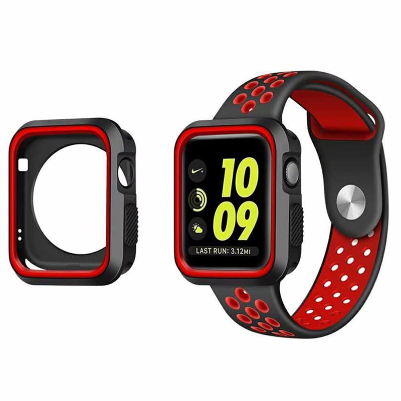 check out 41764 dda7a for apple watch 3 iwatch3 silicone case iwatch 3 2 Dual colors flexible  rubber silicon protector cover 38mm 42mm fashion sports design