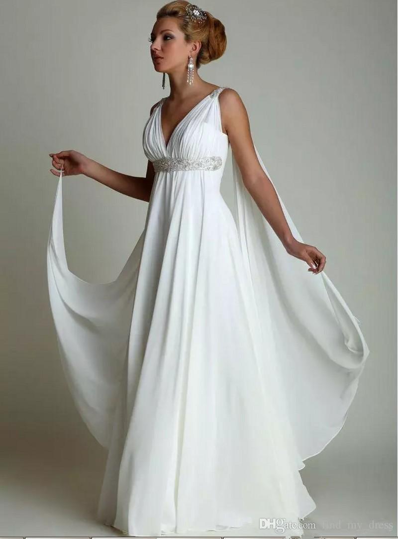 2019 mulheres grávidas grego profundo pescoço vice-pesca verão chiffon vestido de noiva novo casual faixa de cristal boêmia plissos império vestido nupcial romântico