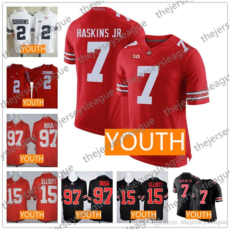 6d2ae6499 Youth Ohio State Buckeyes  7 Dwayne Haskins Jr.  2 JK Dobbins  97 Bosa  15  Elliott Stitched Red Black White Camo Kids Football Jerseys UK 2019 From ...