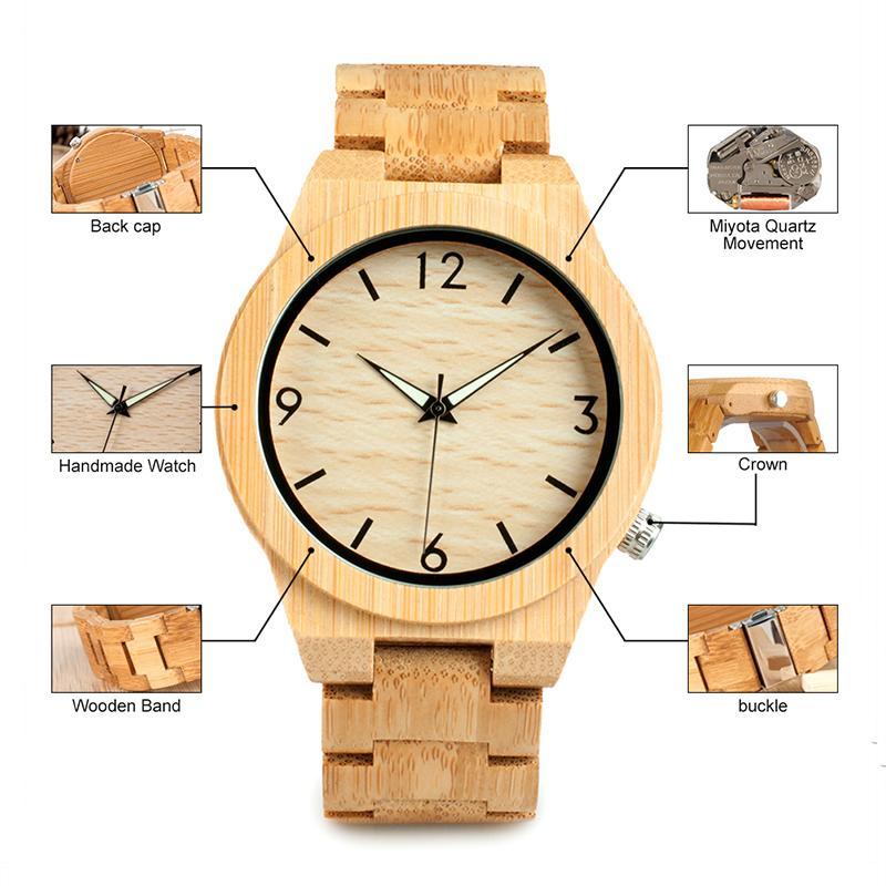 2018 BOBO BIRD WD27 Bamboo de relógio de madeira por Homens Único Lug Projeto Top marca de luxo Quartz faixa de madeira de Noite Verde Ponteiro Relógios de pulso