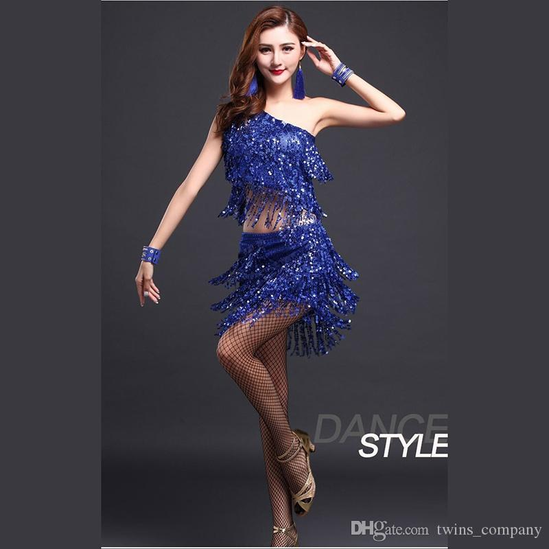 جديد أزياء المرأة الرقص قاعة سامبا زي 3 قطع مجموعة مع قلادة الأكمام الترتر فساتين الرقص اللاتينية قاعة التانغو