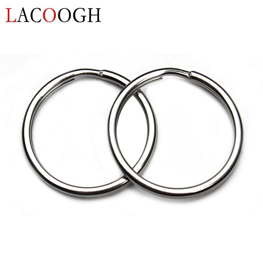 Wholesale 10pcs/set Stainless Steel Silver Tone Keychains Metal Key Holder  Flat Split Rings Women Men Key ring chain Finding