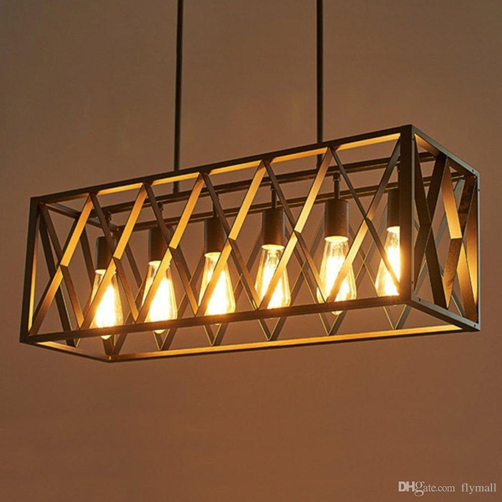 Vintage Industrial 6 Lights Edison Retro Rustic Wrought Iron Black Chandelier Rectangle Island Light Fixtures for Kitchen Bar Living Room