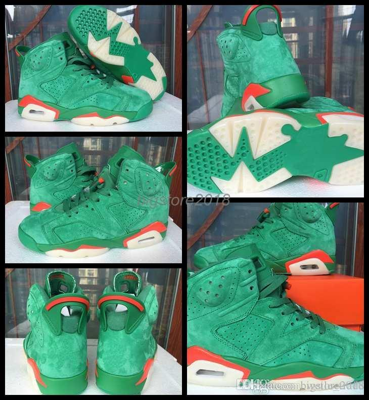 b88aac8606e 2018 New Gatorade 6 VI Men Basketball Shoes Cheap Green White Orange Suede  NRD Man Sneakers 6s Mens Sports Trainers Shoes Size 41 47 Shoes Men  Basketball ...