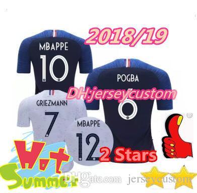 e134aad5e 2 Stars GRIEZMANN MBAPPE POGBA Soccer Jersey 2018 2019 World Cup Shirts  DEMBELE MARTIAL KANTE Jerseys 18 19 Football GIROUD Maillot De Foot 2 Stars  ...