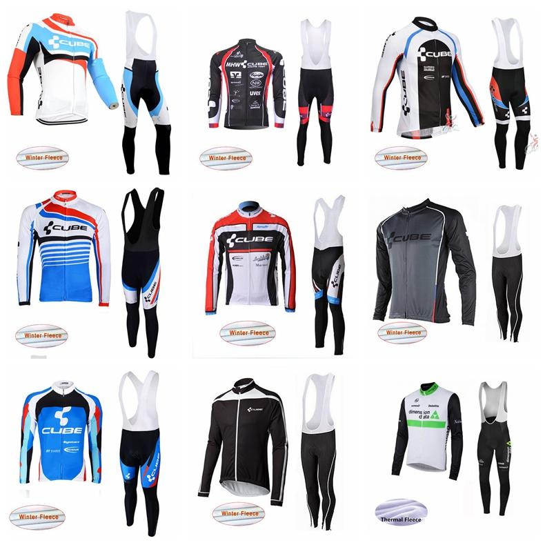 74df977ef CUBE DIMENSION DATA Team Cycling Winter Thermal Fleece Jersey Bib ...