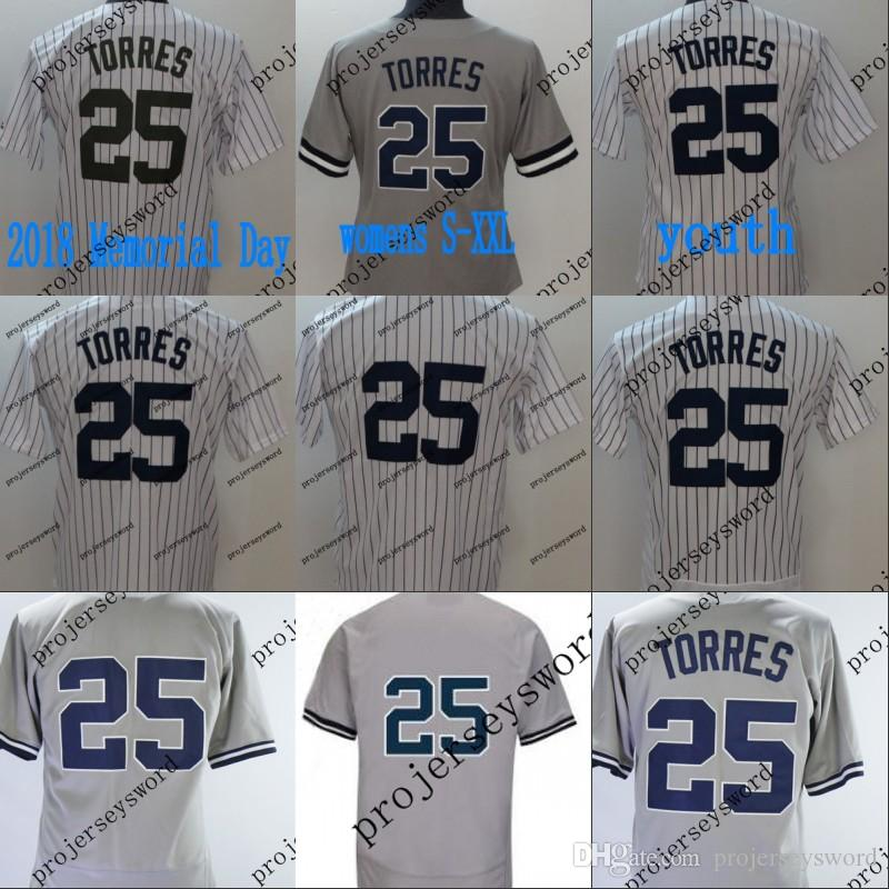 new style 49b57 d348e #25 Gleyber Torres 2018 Memorial Day Jersey New York Mens Womens Youth  Gleyber Torres Baseball Jerseys Cheap White Grey S-XXXL
