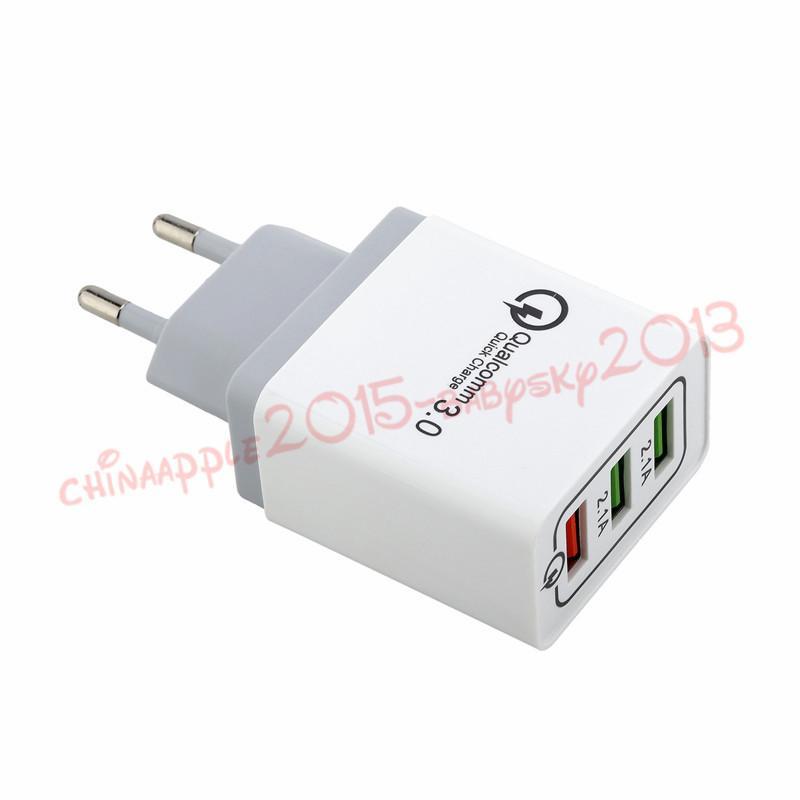EU США Великобритании 3 Usb Зарядное устройство QC 3.0 Быстрые зарядные устройства зарядки стены адаптер для Ipad Iphone 7 8 х 10 Samsung s7 s8 s9 телефон Android с коробкой
