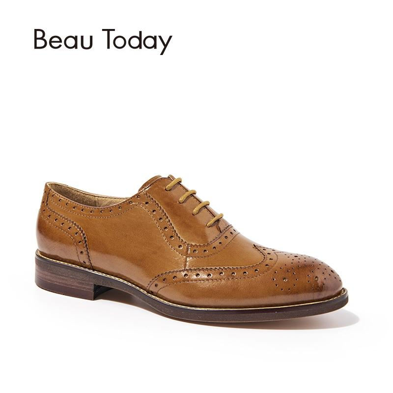 949e40beca Compre BeauToday Wingtip Oxfords Mujeres Cuero Genuino Pisos Moda Con  Cordones Punta Estrecha Zapatos De Piel De Becerro Brogue Zapatos Hechos A  Mano 21094 ...