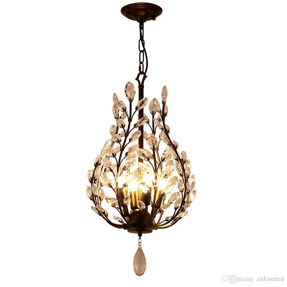 K9 crystal chandelier light fixtures iron crystal pendant lights 4 heads black chandeliers home decor American village style E14 holder
