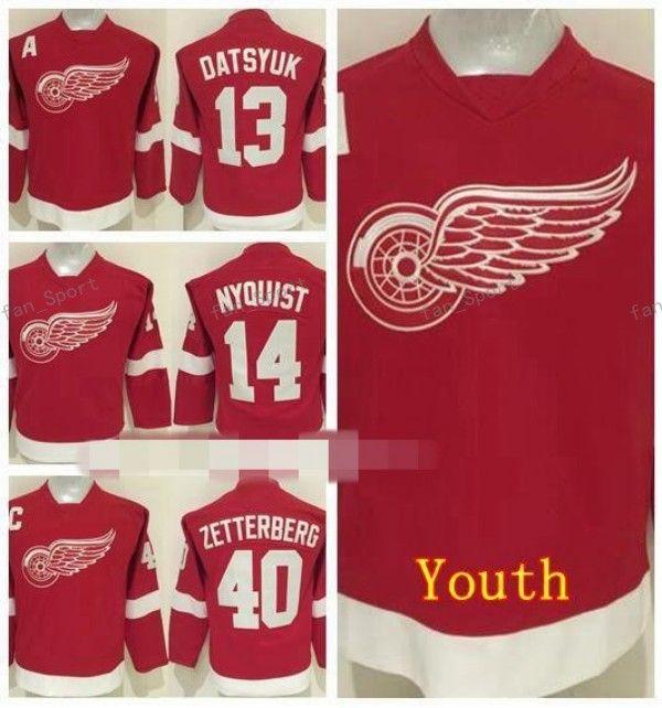 the best attitude d9308 54f03 Detroit Red Wings Youth Jerseys 40 Henrik Zetterberg 13 Pavel Datsyuk 14  Gustav Nyquisi Children Ice Hockey Jerseys Red Black Green White