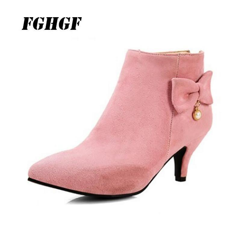 ee2cec6aad90 2018 Hot Style Suede Bow Pearl Tip Rear Zipper High Heel Elegant Short Boots  Fashionable Individual Character Is Recreational F Slipper Boots Ankle  Booties ...