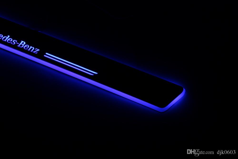 Acrylic Moving LED Welcome Pedal Car Scuff Plate Pedal Door Sill Pathway Light For Mercedes Benz C W205 2014 - 2015