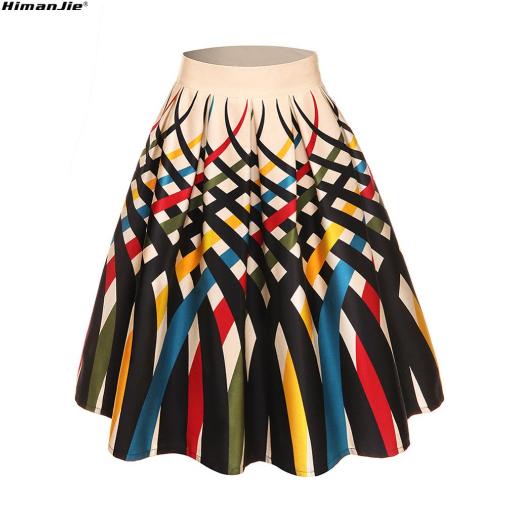2018 Summer New 50s 60s Vintage Lady fruit ice dot lobster Print High Waist Pleated Midi Skirt Saia Longa Plissada