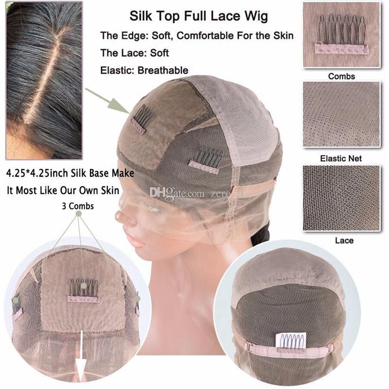 Pelucas de seda onduladas de la categoría 9A Glueless peluca llena del cordón Peluca llena del cordón peluca del pelo humano del frente Onda del cuerpo con el pelo del bebé