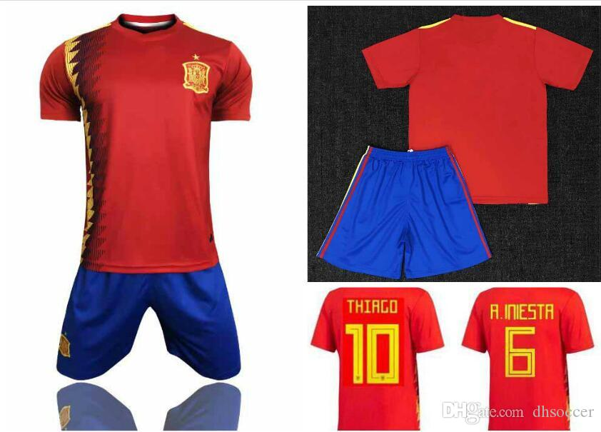 7fe18cea025 2019 Spain Home Red Soccer Jersey Kit 2018 World Cup Spain Home Soccer Kit  2018  7 MORATA  22 ISCO  20 ASENSIO Football Uniforms From Dhsoccer