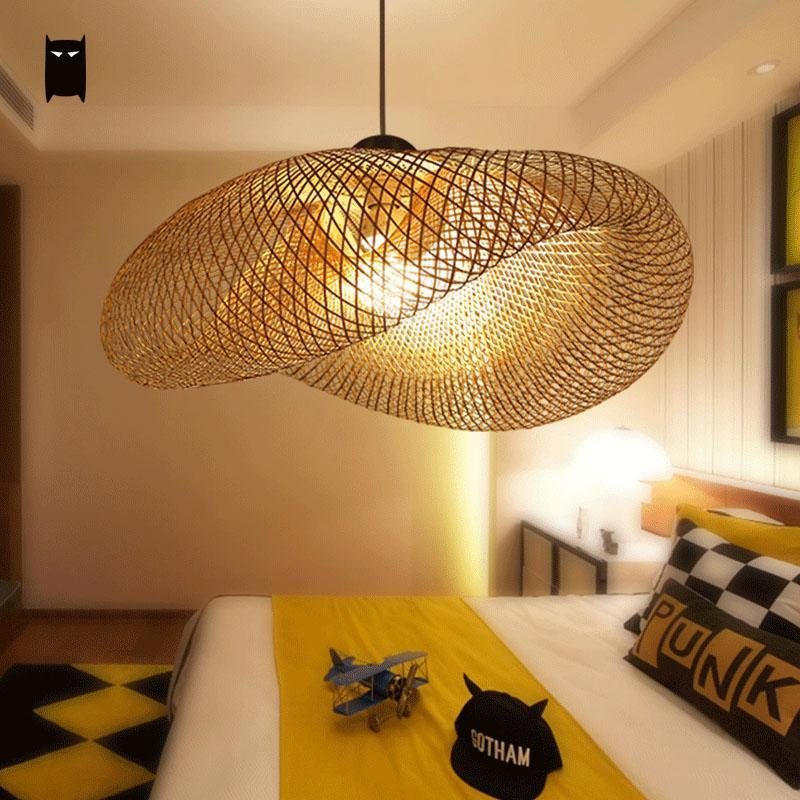 Bamboo Wicker Rattan Wave Shade Pendant Light Fixture Rustic Vintage Japanese Lamp Suspension Home Indoor Dining Table Room Glass Pendant Light Shades Glass