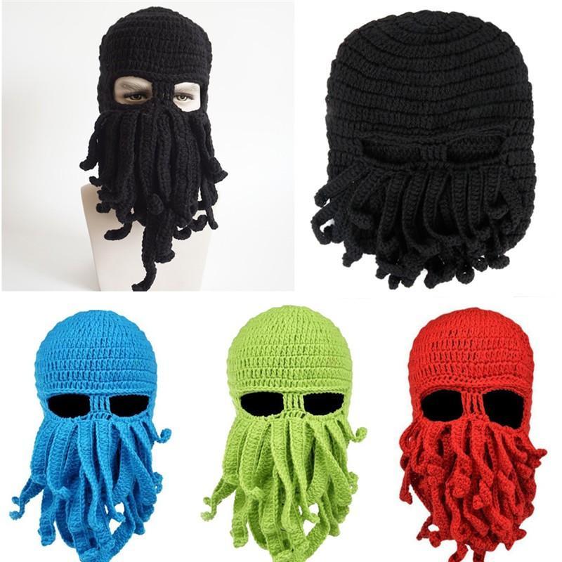 10edae09f Funny Tentacle Octopus Hat Crochet Beard Beanie Men s Women s Knit Wind  Mask Cap Halloween Gift Octopus Hat