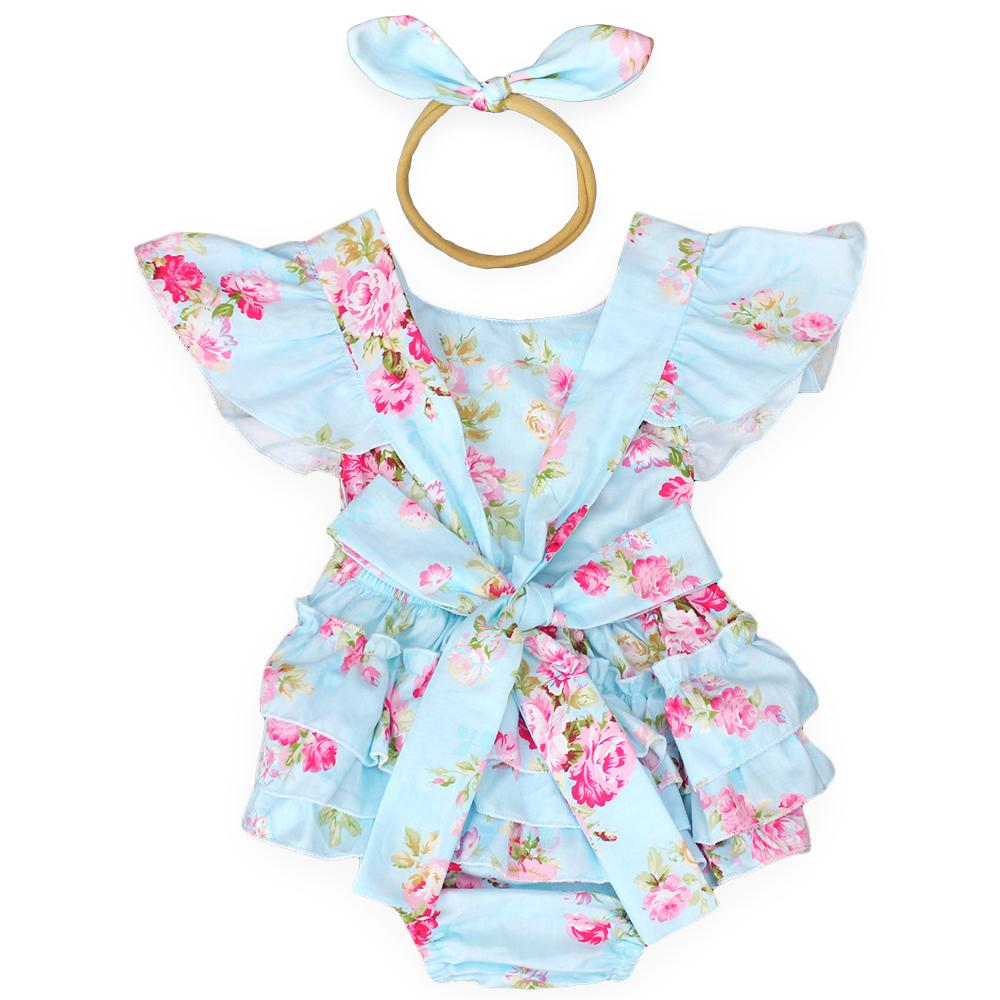 d9d4c01c92d3 2019 2017 New Style Baby Girls Summer Clothes Ruffle Romper Headband  Infantil Jumpsuit New Born Baby Clothes Roupa Infantil Menina From  Cover3085