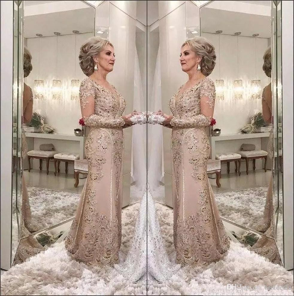 2018 Mermaid Wedding Dresses Long Sleeve Full Beaded Lace: 2018 Luxury Mother Of The Bride Dresses V Neck Long