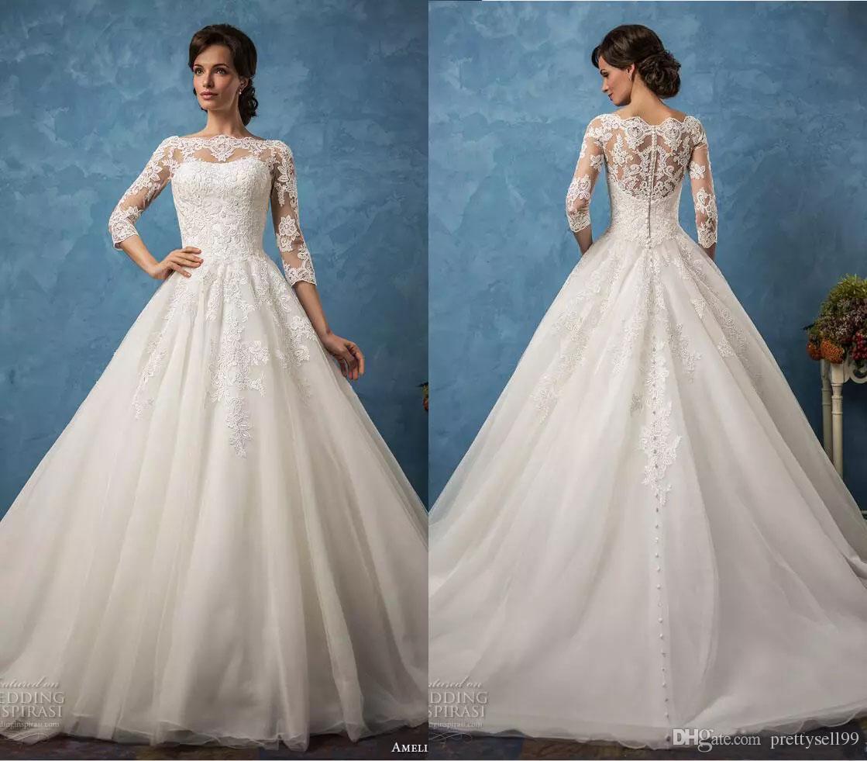 Romantic Amelia Sposa Lace Wedding Dresses 2018 with 3/4 Long ...