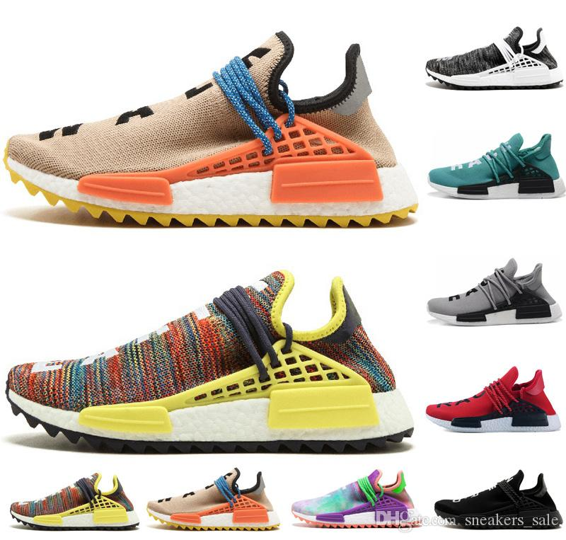 46bfc3d2977d8 2019 Human Race Trail Running Shoes Mens Women Pharrell Williams HU Runner  Yellow Black White Red Green Grey Blue Men Sports Runner Sneakers From ...
