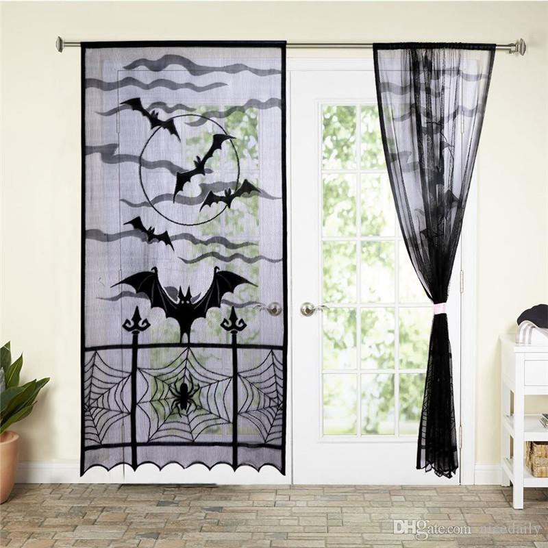 Sheer Curtains Black Lace Doorwindow Curtainspider Web Bats Door